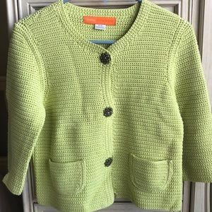 Line Green Crop Half Sleeve Cardigan